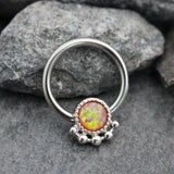 Red Opal Captive Bead Ring