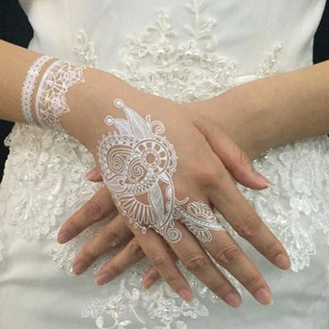 White Bridal Lace Mandala Temporary Tattoo Ideas for Women - www.MyBodiArt.com