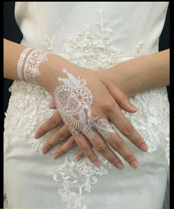 White Bridal Lace Temporary Tattoo