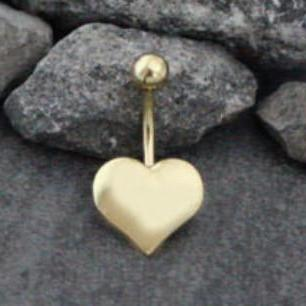 Golden Heart Belly Button Ring in 14G Gold