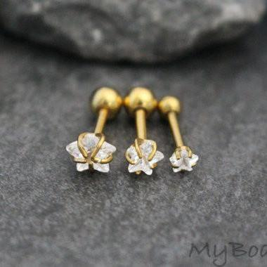 Star Tragus Earring, Cartilage Piercing, Triple Forward Helix Studs, Conch Piercing in Gold 16G