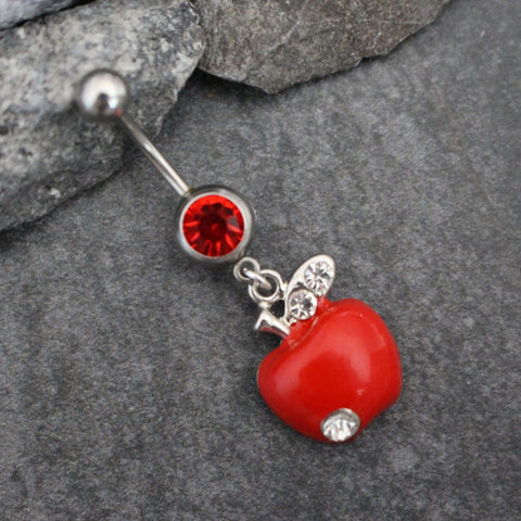 Silver Belly Button Ring | Apple Navel Piercing | Fruit Body Jewelry | Enamel Dangle Charm Hanging Leaf Food | w/ Red & Clear Crystals