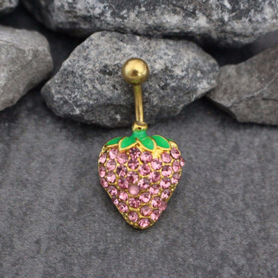 Sparkly Belly Button Ring Stud | Strawberry Navel Jewelry | Bling Navel Ring | Non Dangle Gold Navel Piercing | Surgical Stainless Steel 14G