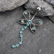 Cute Blue Crystal Butterfly Belly Button Dangle Ring Jewelry - www.MyBodiArt.com