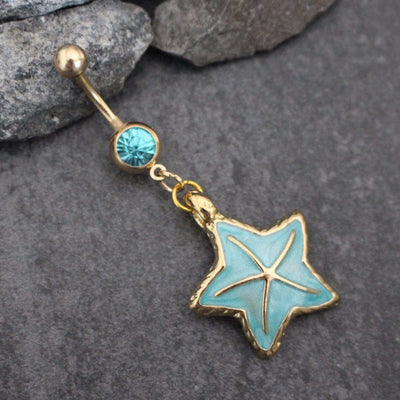 Starfish Belly Button Rings | Gold Star Navel Jewelry | Dangle in Glazed Pearl Enamel | Stainless Surgical Steel | Ultra Shine Blue Crystals