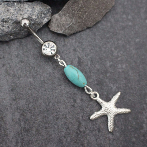 Starfish Belly Button Rings Turquoise | Star Dangle Navel Jewelry | Opal Belly Ring | Gold Navel Piercing Silver |Boho Bohemian Coral Beach|