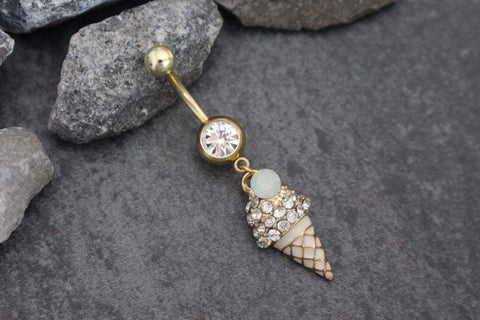 Beach Belly Button Rings | Icecream Cone Navel Jewelry | Gold Body Piercing | Dessert Ice Cream | Belly Button Piercing, Navel Rings