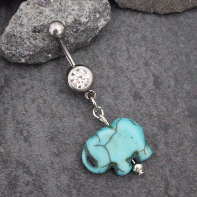 Turquoise Elephant Belly Button Ring Stone Belly Ring | Dangle Navel Jewelery | Gold Silver Body Piercing |Ganesha Tribal Indian Aztec Gypsy