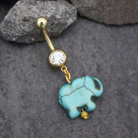 Belly Button Rings Elephant, Belly Bar, Belly Ring, Navel Piercing, Gold Navel Ring, Navel Jewelry, Turquoise Bohemian Boho Traditional
