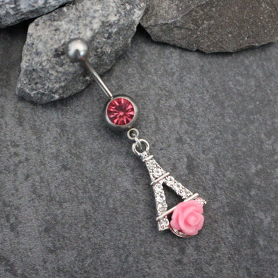 Rose Navel Jewelry | Belly Button Rings Dangle | Eiffel Tower Paris French | 14G Gauge Barbell | w/ Sparkly Pink Crystals | Cute Feminine