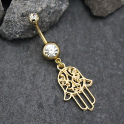 Gold Belly Button Rings Hamsa Dangle Navel Jewelry | Dainty Hand Evil Eye Hebrew Arabic Tribal Vintage | w/ Ultra Shine Clear Crystals