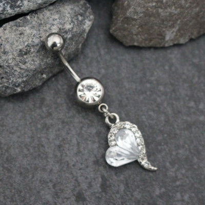 Cute Crystal Heart Belly Button Ring Dangle Body Jewelry for Women - www.MyBodiArt.com