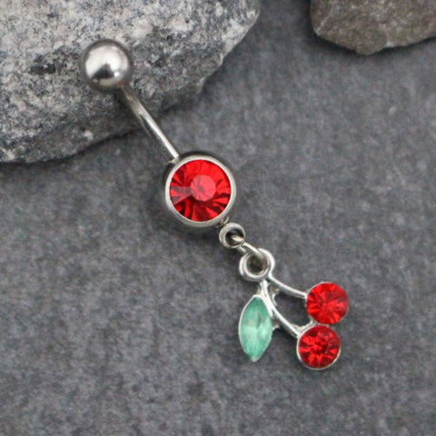 Cherry Belly Ring | Leaf Navel Ring | Cherries Belly Button Jewelry Silver Dangle | Blossom Fruit Cute |w/ High Pigment Red & Green Crystals