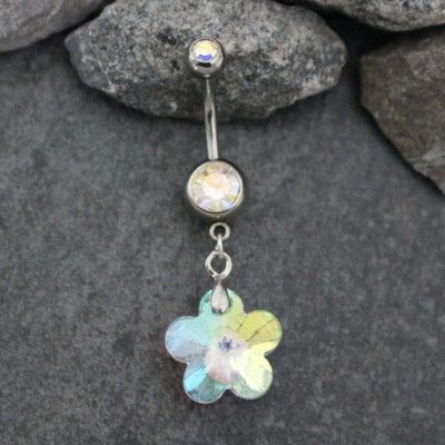 Flower Belly Button Ring | Crystal Navel Piercing | Dangle Body Jewelry | Silver 14G Barbell | Super Shine Aurora Borealis Rainbow Crystals