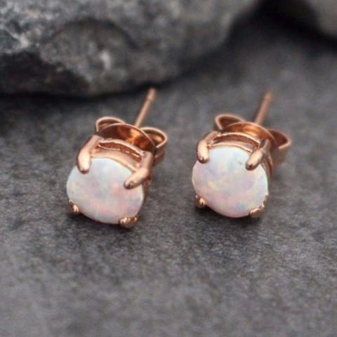 Opal Stud Earrings, Rose Gold Stud Earrings, Opal Earrings, Rose Gold Earrings, Stud Earrings, Cartilage Piercing, Helix Piercing Jewelry