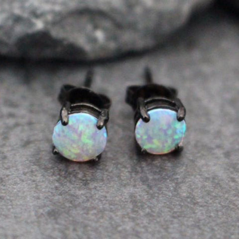 Opal Stud Earrings, Black Stud Earrings, Stud Earrings, Goth Earrings, Gothic Earrings, Womens Earrings, Mens Earrings, Cartilage Piercing