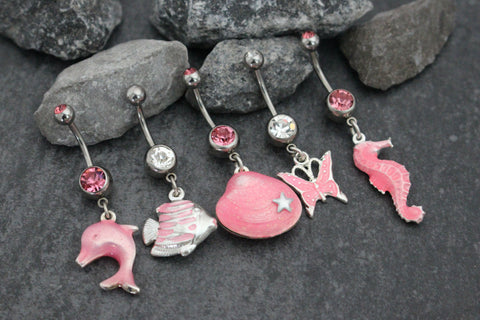 Pink Belly Ring, Seashell Belly Button Rings, Dolphin Navel Piercing, Silver Butterfly Navel Ring, Seahorse Belly Button Jewelry Fish Ocean