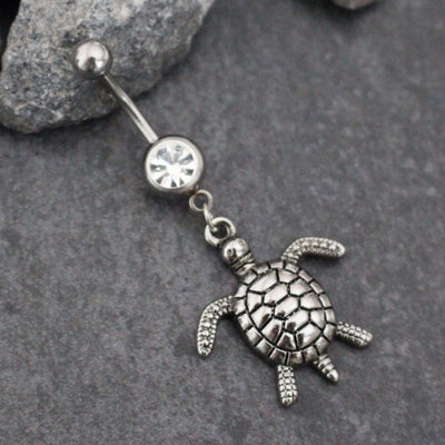 Silver Belly Button Ring Turtle Tortoise Sea Shell Nautical | Navel Piercing Dangle Body Jewelry Tibetan Tibet | w/ High Shine Crystals