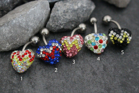 July 4th Ferido Heart Belly Button Ring Stud | America Navel Bar | Surgical Stainless Steel | Bumblebee Chili Crystal Encrusted Shamballa