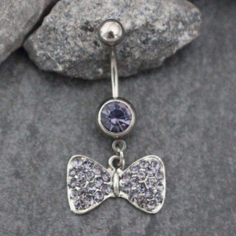 Bow Belly Button Rings | Silver Navel Jewelry Dangle Bowknot Bowtie Knot Tie Ribbons Hanging | w/ Super Sparkle Pink Purple Crystals