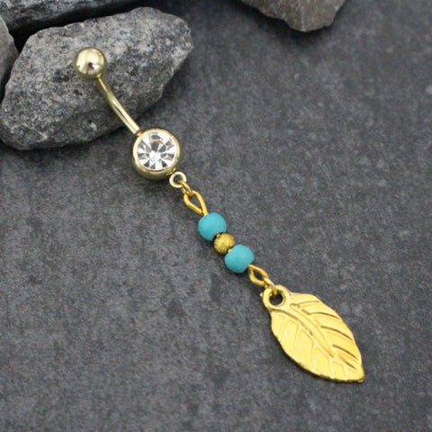 Leaf Belly Button Rings, Feather Belly Button Ring, Gold Navel Jewelry, Boho Navel Piercing, Boho, Bohemian, Tribal, Nature