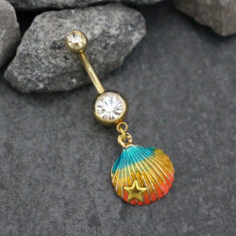 Shell Belly Button Rings | Seashell Navel Piercing Beach | Gold Starfish Summer Jewelry |Aurora Borealis Crystals Glistening Rainbow Enamel