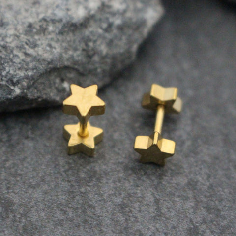Gold Tragus Stud, Gold Cartilage Earring, Star Helix Piercing, 16G Tragus, Cartilage Piercing, Helix Earring, Double Sided Stars