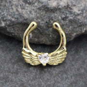 Angel Wings Septum Jewelry, Fake Septum Ring, Faux Septum Ring, Nose Piercing, Nose Ring, Tribal Adornment, Septum Jewelry, Gold, Silver