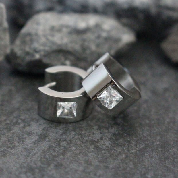 Stainless Steel Hoop Earrings for Men, Huggie Earrings, Mens Crystal Earrings, Mens Earrings, Guys Earrings, Earrings for Guys,Hoop Earrings
