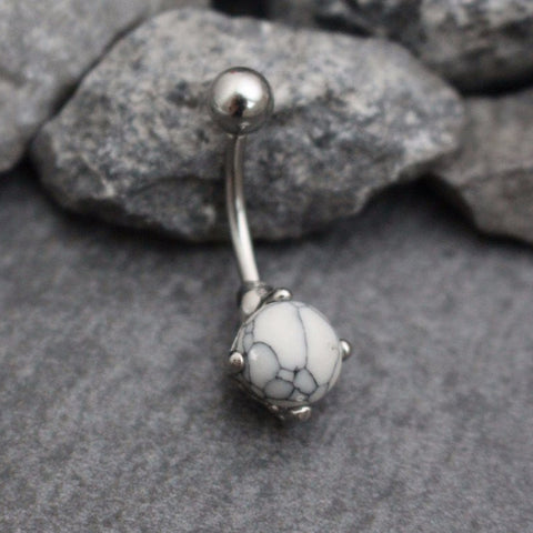 Ivory Howlite Stone Belly Button Piercing Stud Navel Ring in Silver 14G - www.MyBodiArt.com