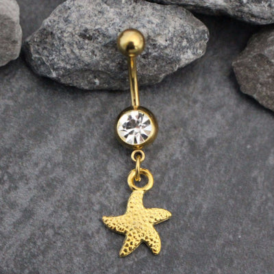 Starfish Belly Button Ring Piercing in 14G Gold