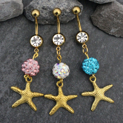 Belly Button Rings Gold, Starfish Belly Button Piercing, Navel Jewelry, Navel Piercing, Navel Ring, Dangle Belly Jewelry, Star Ferido Ball