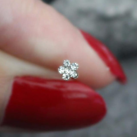 Crystal Flower Nose Stud Piercing Jewelry At Mybodiart
