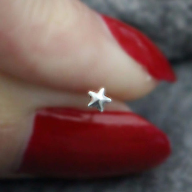Star Nose Stud, Star Nose Ring, Gold Starfish, Silver Star Fish, Solid 0.925 Sterling Silver