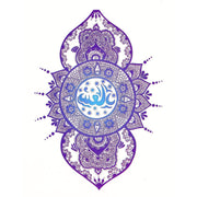Tribal Lotus Mandala Lace Blue Temporary Tattoos - www.MyBodiArt.com