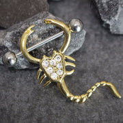 Scorpion Gold Nipple Ring Body Piercing Jewelry 14G - www.MyBodiArt.com