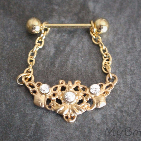 Golden Dangle Nipple Ring
