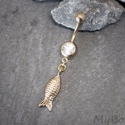 Rose Gold Belly Ring, Fish Belly Button Rings, Gold Navel Piercing, Navel Jewelry, Nautical, Ocean, Sea Creature