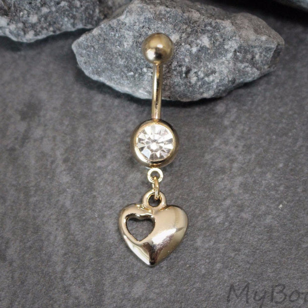 Rose Gold Heart Belly Button Jewelry