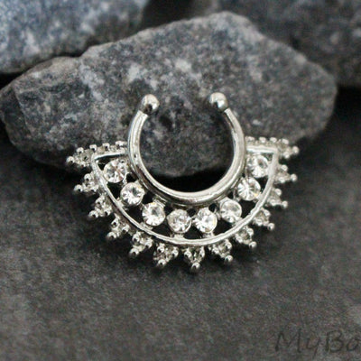 Tribal Afghan Fan Fake Septum Ring in Silver, Septum Jewelry, Faux Septum Piercing, Tribal Septum Ring, Septum Clip On, Fake Septum Jewelry, Faux Septum Ring.