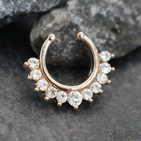 Rose Gold Crystal Fake Septum Ring