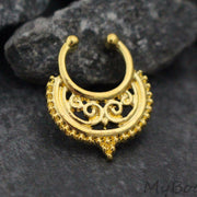 Tribal Gold Fake Septum Ring, Faux Septum Piercing, Septum Clip On, Septum Jewelry, Septum Jewellery