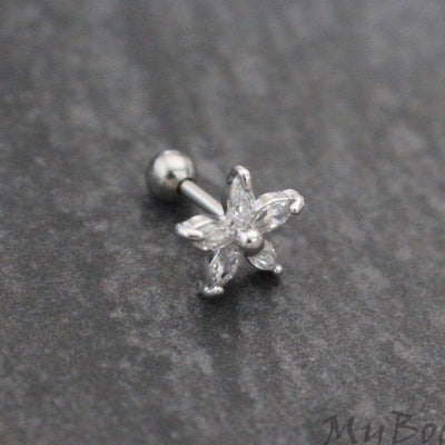16G Crystal Flower Tragus Earring, Conch Piercing, Cartilage Stud, Helix Jewelry, Silver Tragus Piercing, Crystal Cartilage Jewelry