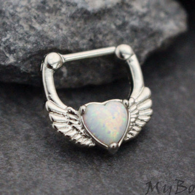 Opal Septum Clicker with Hearts & Wings, Daith Piercing Jewelry, Opal Septum Ring, Daith Earring, Septum Piercing, Daith Jewelry, 16G Septum Jewelry