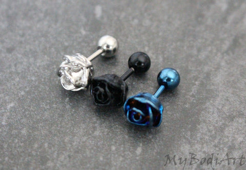 Rose Cartilage Earring, Tragus Earring Stud, Tragus Jewelry, Cartilage Piercing, Conch Piercing, Conch Jewelry, 16 Gauge