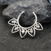 Silver Fake Septum Ring, Faux Septum Piercing, Septum Jewelry, Septum Jewellery, Septum Clip On