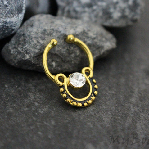 Septum Ring Fake, Faux Septum Ring, Septum Clip On, Non Pierced, Non Piercing, Fake Nipple Piercing, Tribal, Bohoemian, Boho, Crystal