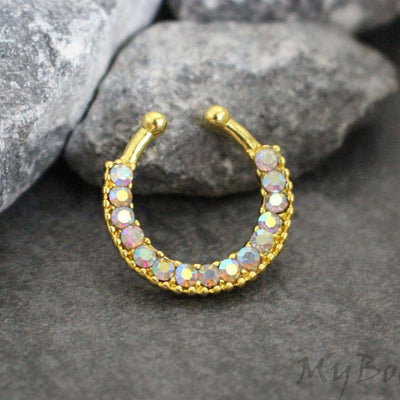 Gold Fake Septum Ring with Aurora Borealis Crystals
