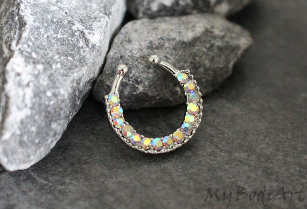 Silver Fake Septum Ring with Aurora Borealis Crystals