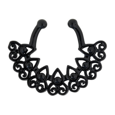 Black Afghan Fan Fake Septum Ring, Tribal Faux Septum Ring, Brass Septum Clip On, Fake Piercing, Fake Nose Ring, Faux Piercing, Non Piercing